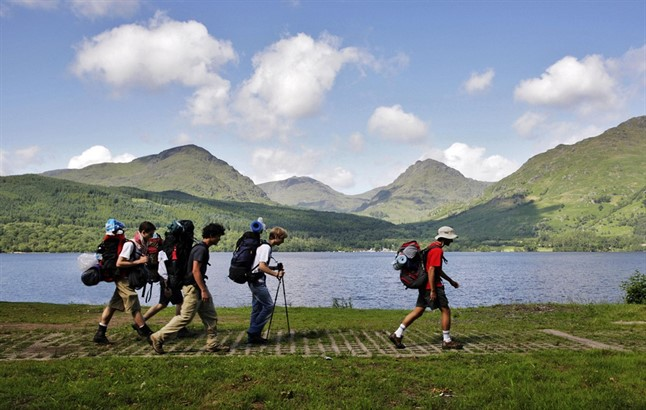 A Group Of Walkers On The West Highland Way At Inversnaid On The Eastern Shore Of Loch Lomond With A View To Hills Beyond Credit P Tomkins Visit Scotland Scottish Viewpoint