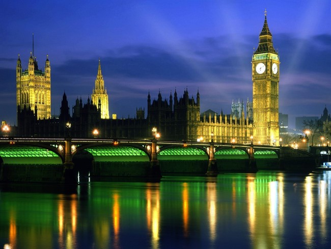Palace Of Westminster At Night London England